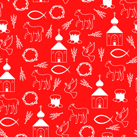 red cross red bird: Vector illustrations of Easter Orthodox pattern seamless on red background Illustration