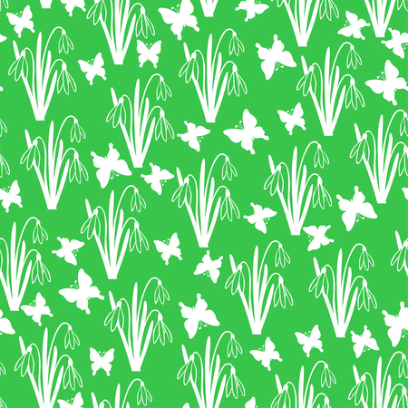 snowdrops: Vector illustrations of snowdrops spring flower and butterflies pattern seamless on green background