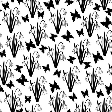 snowdrops: Vector illustrations of snowdrops spring flower and butterflies pattern seamless isolated