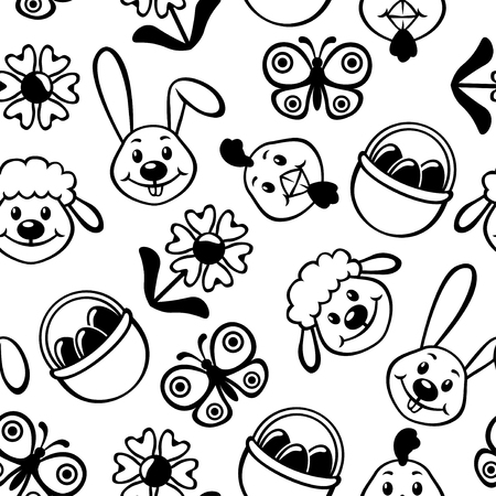 butterfly rabbit: Vector illustrations of Easter cartoon muzzles pattern seamless isolated on white background Illustration