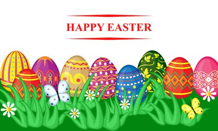 butterfly background: Vector illustrations of spring Easter card with cartoon decorative eggs in grass on meadow