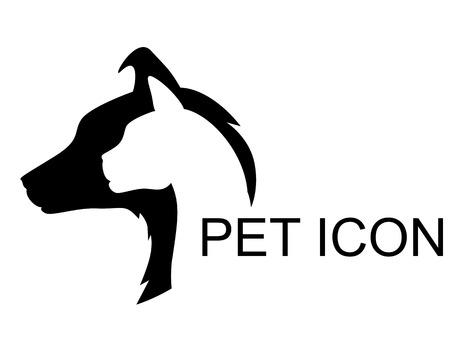 Illustrations vectorielles de l'icône silhouette animal. Chat et chien vecteur vétérinaire icône. Pet Shop icon