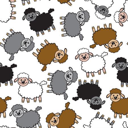 black sheep: Ilustraciones del vector de ovejas modelo multicolor incons�til de la historieta aislado en el fondo blanco. fondo ovejas. Corderos patr�n transparente