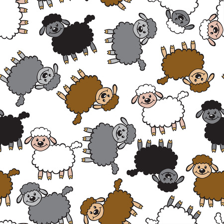oveja negra: Vector illustrations of cartoon multicolor sheep pattern seamless isolated on white background. Sheep background. Lambs pattern seamless