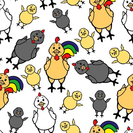 vector illustration  hen: Vector illustrations of cartoon chicken family rooster, hen and chick multicolor pattern seamless isolated on white background. Vector chicken pattern seamless.