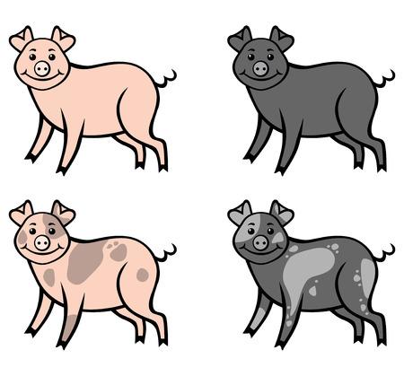 Illustrations vectorielles de porcs multicolores de bande dessinée mis. Rose, noir et porcs repéré. jeu de porc à la ferme Vecteurs