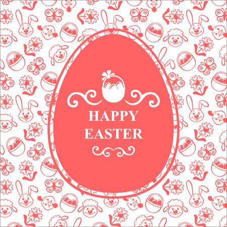 oval shape: Vector illustrations of Easter cartoon ornament card on pink background. Greeting Easter card oval shape of an egg. Easter background. Easter text. Easter card Illustration