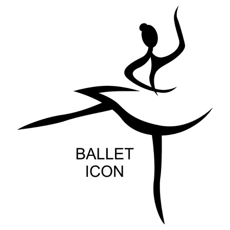 Vector illustrations of ballet icon isolated on white background. Ballet woman icon. Ballet stylized symbol. Dance icon. Ballerina