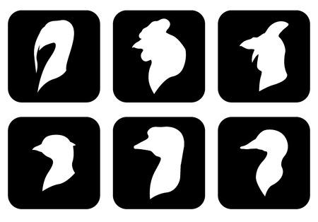 Vector illustrations of icon farm birds heads silhouettes set on black background. Negative icon farm birds Imagens - 53632622