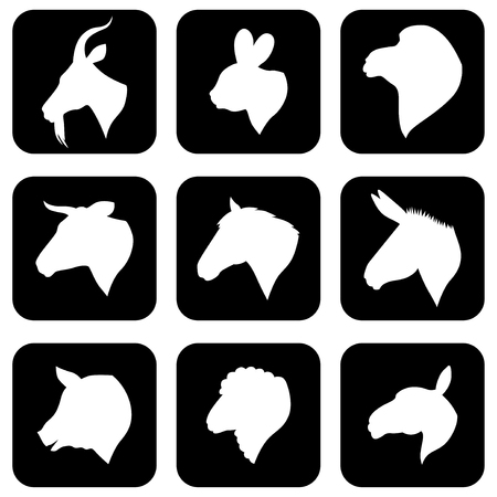 Vector illustrations of icon farm animals heads silhouettes set on black background. Negative icon farm animals Illustration