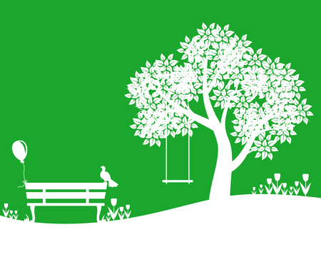 grass flowers: Vector illustrations of silhouette park landscape with tree, bench, swings, meadow on green background. Outdoor park landscape.