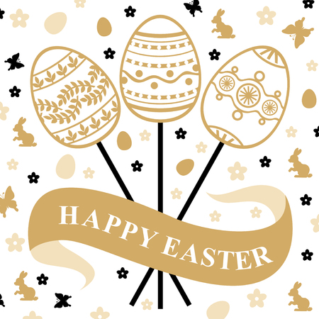gold eggs: Vector illustrations of Easter gold card with eggs bouquet