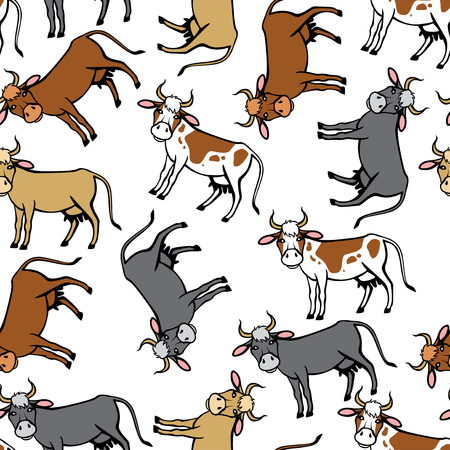 isolated spot: Vector illustrations of spot, red, brown, black cows pattern seamless isolated on white background