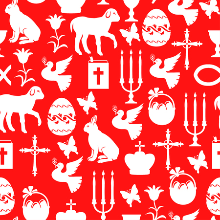 red cross red bird: Vector illustrations of Easter pattern seamless with Cross, Gospel, candles, dove, lamb, hare on red background