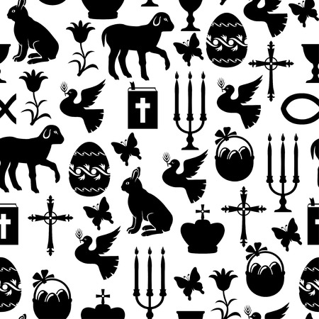 gospel: Vector illustrations of Easter pattern seamless with Cross, Gospel, candles, dove, lamb, hare Illustration