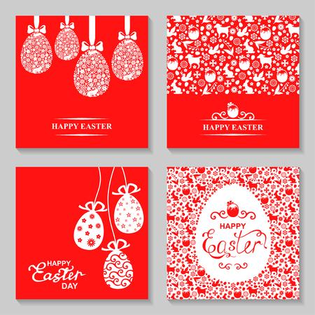 ilustraciones de vectores de conjunto de tarjeta de Pascua. Huevos de Pascua decorativos colgar. Pascua modelados tarjeta.