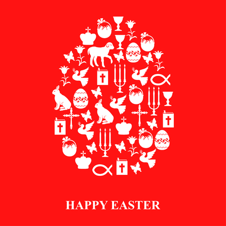 red cross red bird: Vector illustrations of Egg of Easter symbols Cross, Gospel, candles, dove, lamb, hare on red background