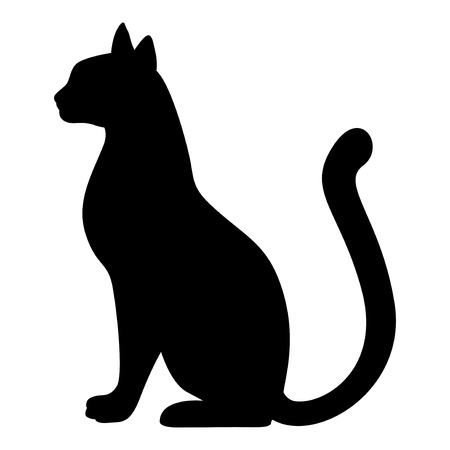Vector illustrations of silhouette of graceful cat. Black cat silhouette.