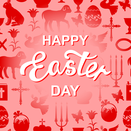 gospel: Vector illustrations of Easter card with greeting text andCross, Gospel, candles, dove, lamb, hare on red background