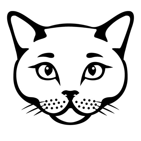 Vector illustrations of British cat muzzle. Cat head