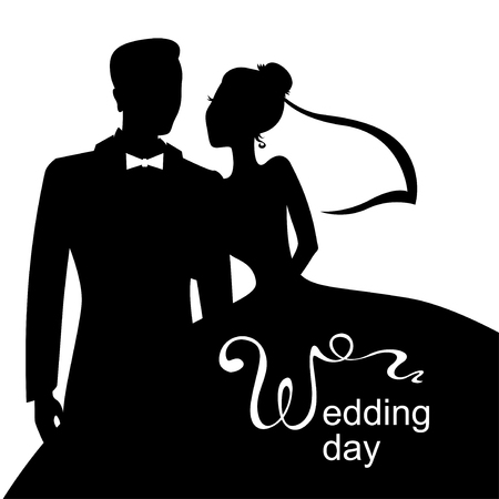 Vector illustrations of silhouette of bride and groom. Wedding day card