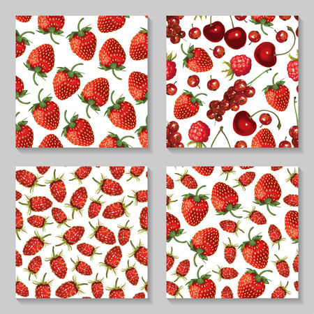wild strawberry: Vector illustrations of seamless pattern of delicious ripe strawberries and berries set