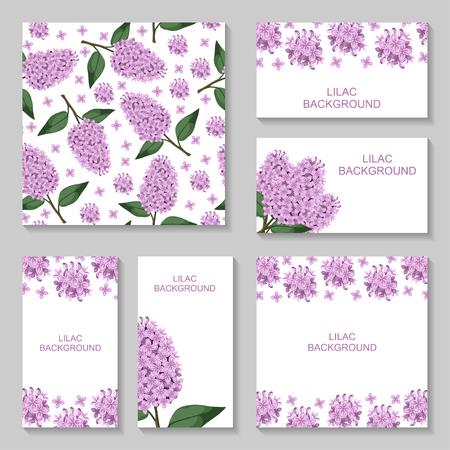 ライラックの花の背景のベクトル イラストを設定します。シームレスなライラックのパターン。ライラックのビジネス カード 写真素材 - 55279987