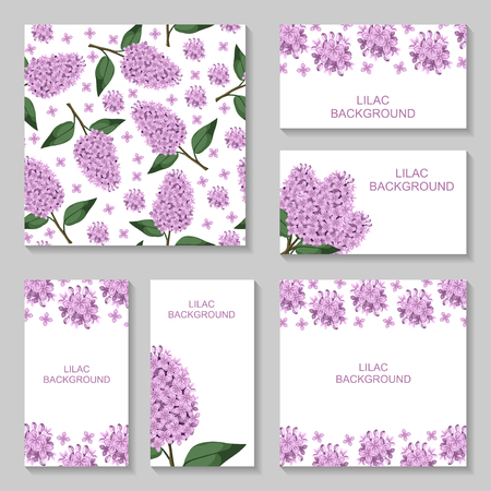lilac flower: Vector illustrations of Lilac flowers background set. Lilac pattern seamless. Lilac business card