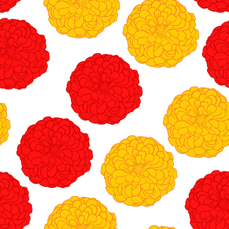 flowerbed: Vector illustrations of seamless pattern of red and yellow flowers zinnia isolated on white background