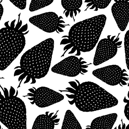 wild strawberry: Vector illustrations of Strawberry silhouette pattern seamless Illustration