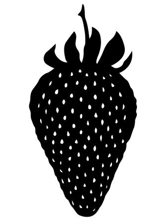 wild strawberry: Vector illustrations of Strawberry silhouette icon