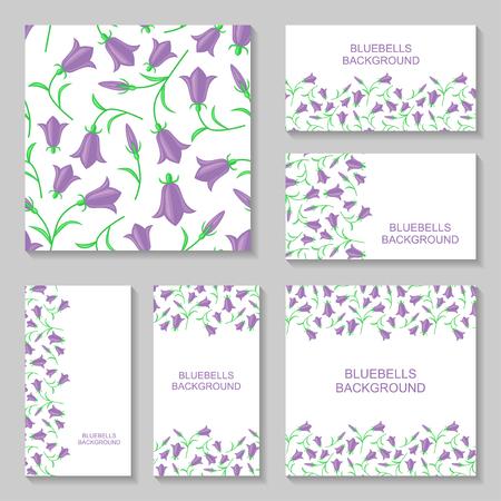 bluebell: Vector illustrations of bluebells flowers business cars on white background. Bluebell background set. Bluebell flowers pattern seamless