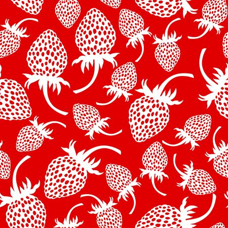 wild strawberry: Vector illustrations of wild strawberry silhouette pattern seamless isolated on red background Illustration