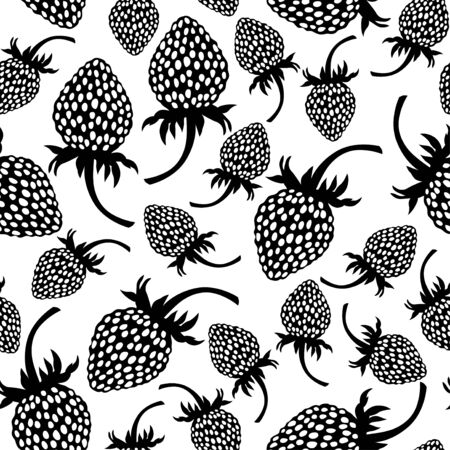 'wild strawberry: Vector illustrations of wild strawberry silhouette pattern seamless isolated on white background