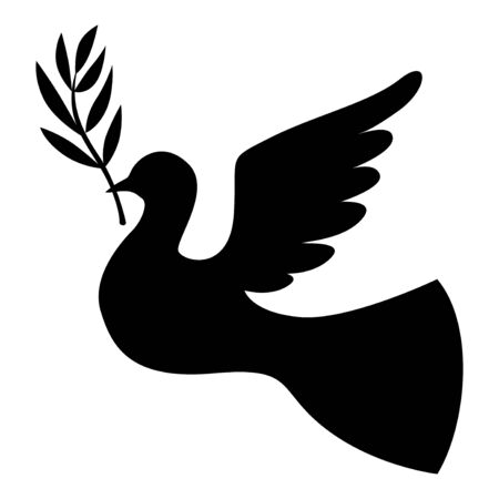 palm branch: Vector illustrations of silhouette dove with a palm branch