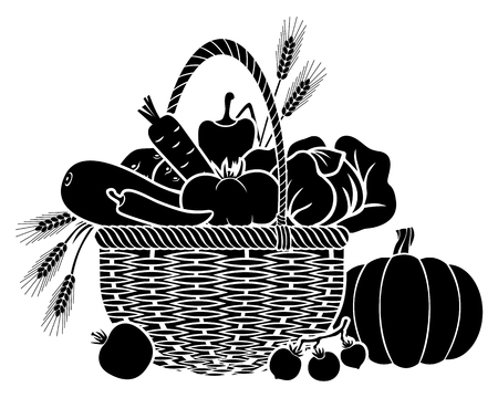 Vector illustrations of basket with vegetables