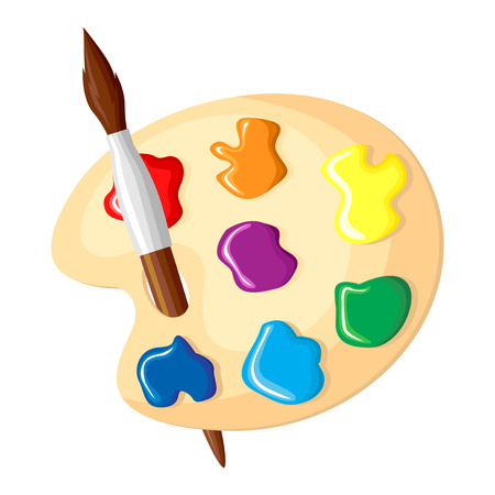 Vector illustrations of cartoon paintbrush and palette of paints icon isolated