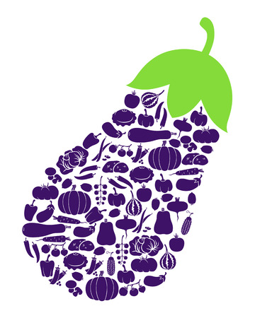 dietary: Vector illustrations of eggplant icon of vegetables isolated on white background Illustration