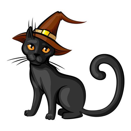 Vector isolato illustrazioni di cartone animato Halloween gatto di colore cappello contorno isolato su sfondo bianco