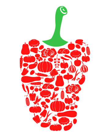 dietary: Vector illustrations of pepper icon of vegetables isolated on white background Illustration