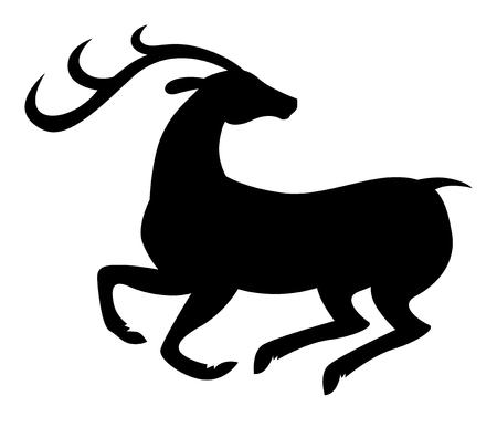 Vector illustrations of silhouette of prancing beautiful deer