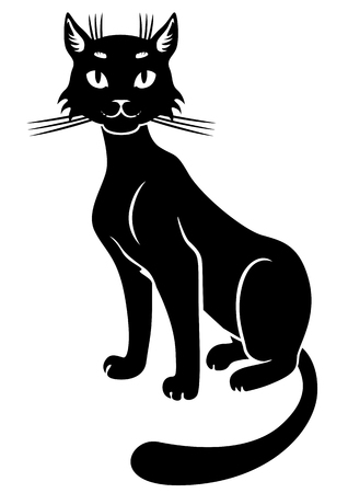 Vector illustrations of silhouette of sitting black cute cat