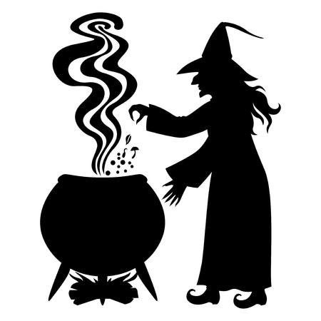 illustrazioni vettoriali di Halloween silhouette Strega infusi una pozione in pentola isolato su sfondo bianco
