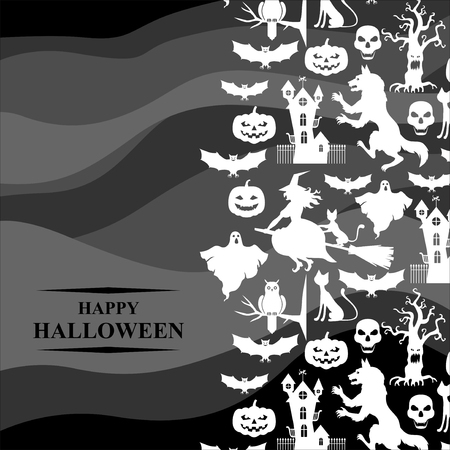 hag: Vector illustrations of Halloween with horror silhouettes vertical design on gray background