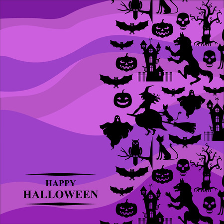 ghost house: Vector illustrations of Halloween with horror silhouettes vertical design on violet background