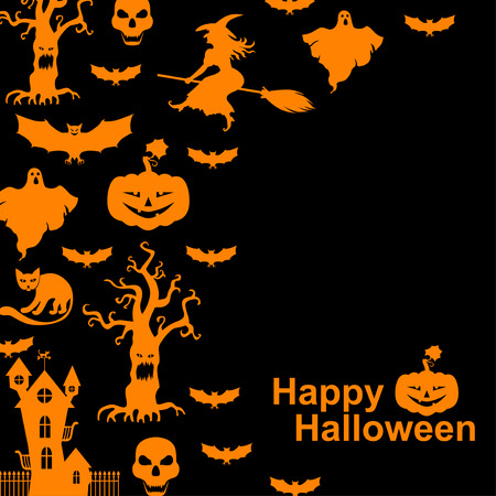 hag: Vector illustrations of Halloween with orange horror silhouettes on black background Illustration