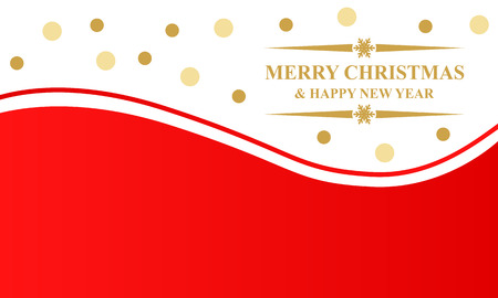 congratulatory: Vector illustrations of greeting Christmas card with gold balls and congratulatory text