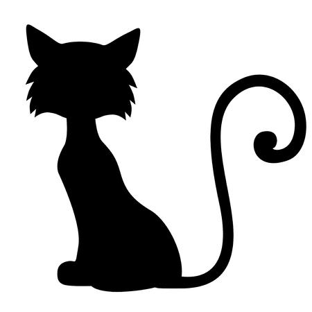 Vektor-Illustrationen von Cartoon Silhouette Katze sitzt