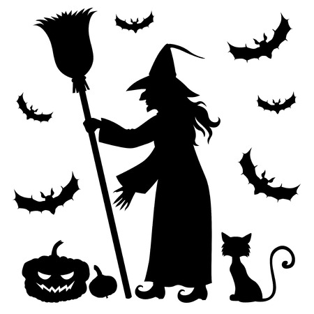 crone: Vector illustrations of Halloween silhouette witch holding broomstick and cat, pumpkin, vampires