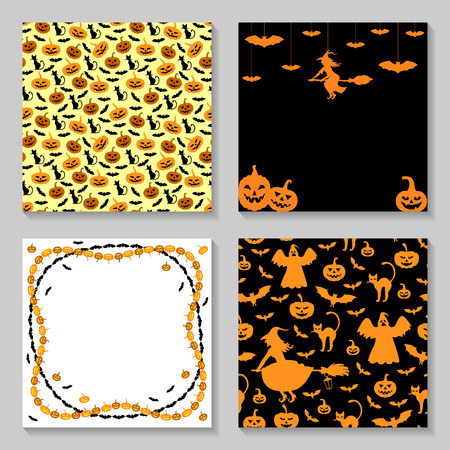smilling: Vector illustrations of Halloween greeting background set
